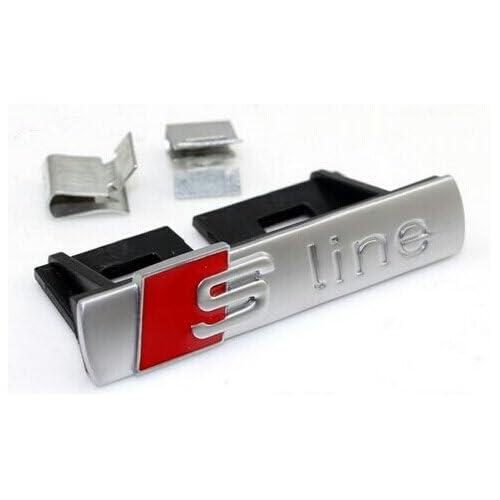 Logo frontal Sline pour la grille de calandre pour A1 A3 A4 A5 A6 A8, argenté mat - Version 2 Améliorée