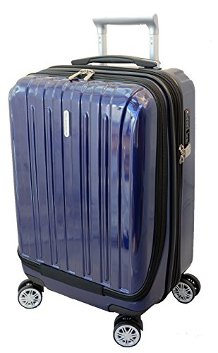 "Expandable Trolley Carry On Spinner - Vista Collection NY Luggage 20"" Carry-on Expandable Spinner Trolley with pocket for computer (Blue)"