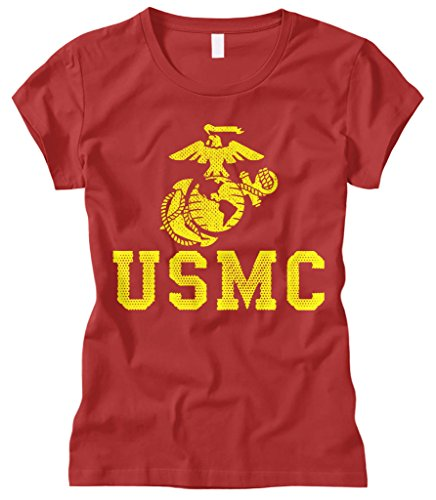 Cybertela Women's United States Marine Corps USMC Fitted T-Shirt (Red, Small)