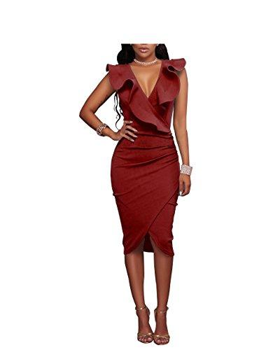 Length Hem Asymmetrical Red Slim Club Ruffle Women's Mid Dress SYGoodBUY Sexy Bodycon Dress 123 48qw1X8
