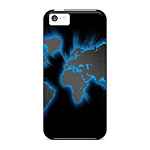 Mycase88 Shockproof Scratcheproof Monde Black Hard Cases Covers For Iphone 5c