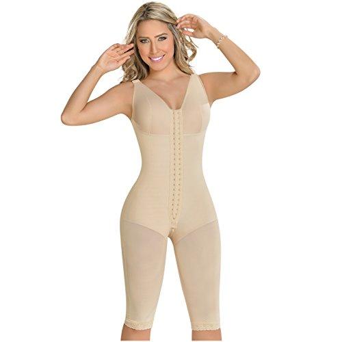 M&D 0120 Fajas Colombianas Reductoras y Moldeadoras Colombian Shapewear Postsurgery Liposuction Compression Garments Full Body Shaper BBL Bra Girdles for Women Beige 2XS