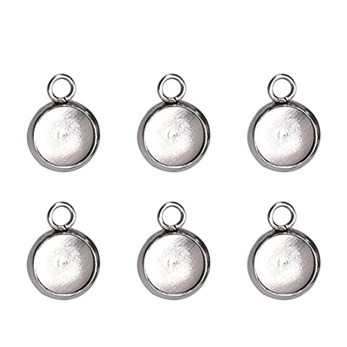 Silver Stainless Steel Pendant Trays for Jewelry Making Round Bezel Cabochon Settings 8X8mm 50PCS