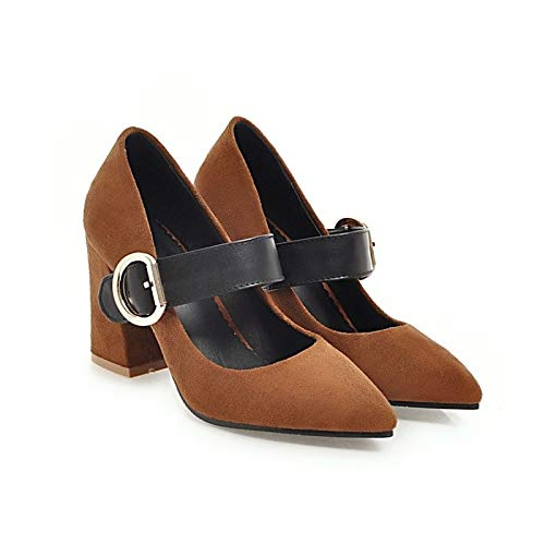Heels Pump Women's Fall Black Suede Basic Heel Beige Shoes ZHZNVX Black Chunky Yellow 16TWRnF1
