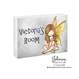 Custom Name Door Plaque Kids Room or Nursery angel Personalized Sign Baby Shower Gift Special Decor for Children 5x7'' / 8x10''