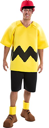 Palamon Men's Peanuts Charlie Brown Costume, Yellow, (Adult Charlie Brown Costume)