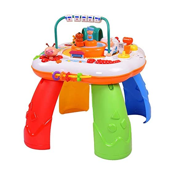Jumix Baby Activity Play Table Musical Sit Stand Toddler Toy Boy Girl Piano Learning Table (Multi-Play)