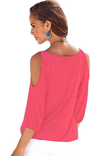 NEW Mesdames Rose col rond froid bandoulière Extra Large Top T-shirt Club Wear Tops Casual Wear Vêtements Taille M 10–12