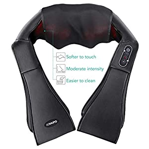 Naipo Shiatsu Back and Neck Massager Foot Massager with Heat Deep Kneading Massage for Neck, Back, Shoulder, Use at Home, Car, Office