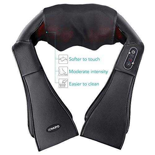 Naipo Shiatsu Back and Neck Massager Foot Massager with Heat Deep Kneading Massage for Neck, Back, Shoulder, Use at Home,...