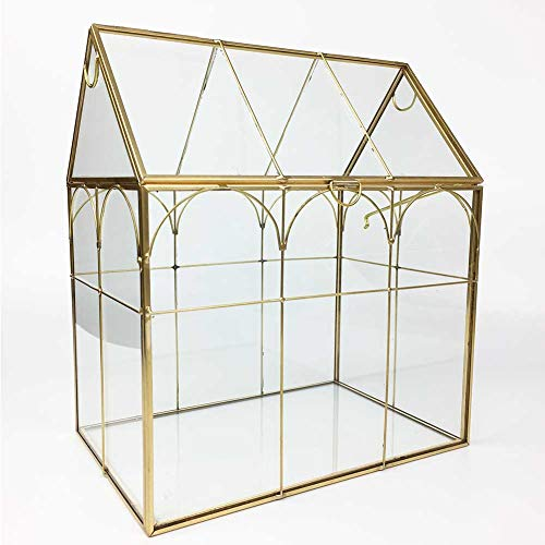 Large Tall Plant Terrarium Glass – Glass Greenhouse Terrarium with Lid,Indoor Tabletop Orchid Succulent Cacti Terrarium Kit NA (Gold A)