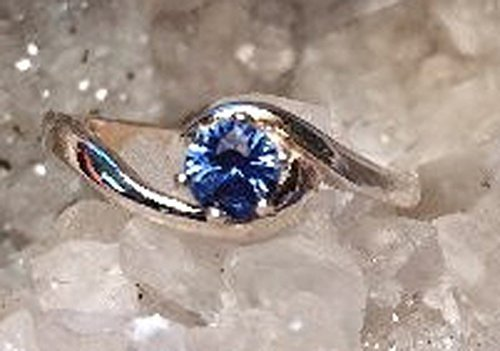 - Montana Sapphire Crescent Bypass 4mm (.30ct) Ring Sterling Silver