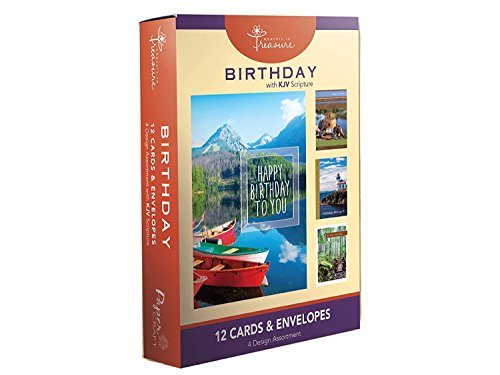 12PK Boxed Birthday Cards Bulk with KJV Scripture – Fishing Trail Lighthouse Scenery Greeting Cards BDAY for Her for Him