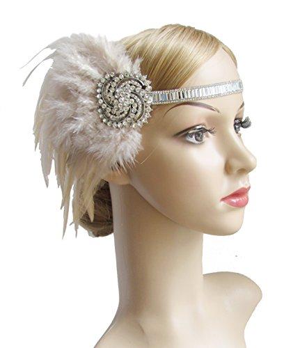 Kathyclassic 1920s Great Gatsby Flapper Headpiece Art Deco Feather Headband for Women(Nude - Women Vintage Black Nude