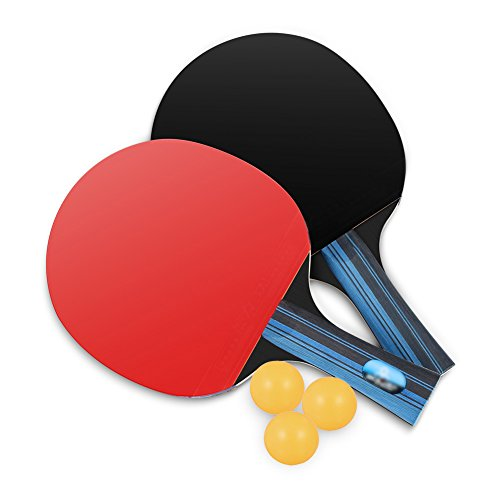 Lhedon Table Tennis Set with 2 Premium Table Tennis Rackets and 3 Practice Ping Pong Balls with Carry Bag for Outdoor Indoor Sports Activities (Table Tennis)