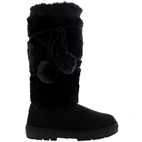 Mujer Pom Pom De Altura Invierno Forrada De Piel Lluvia Zapato Botas Negro