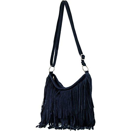 - Ital. Leather bag Shoulderbag Shoulder bag Ladiesbag Wild leather T125, Color:Dark Blue