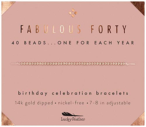 Lucky Feather 40th Birthday Gifts for Women, 14K Rose Gold Dipped Beads Bracelet on Adjustable 7