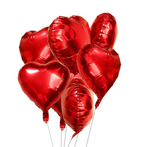 18 inch Red Heart Foil Mylar Valentines Party Balloons Wedding Anniversary Engagement Baby Shower Birthday Nursery Party Favors Balloons Decorations, -