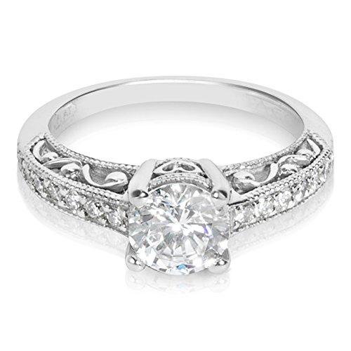 Tacori Platinum and Diamond Engagement Ring Setting with 6.5 mm Round CZ Center, 1/4 ct TDW, Size 6 (Tacori Platinum Engagement Rings compare prices)