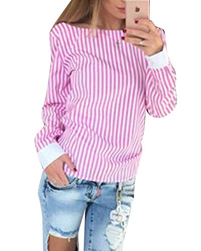 Senza V Manica Rosa Blusa Elegante Lunga Casuale Shirt Autunno Donna Tops Camicetta Primaverile A Bendare Donne Schienale Casual A Cravatta Vintage Battercake Slim Moda Righe Fit Farfalla Festival aOZqpqw