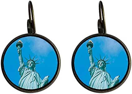 GiftJewelryShop Bronze Retro Style Statue Of Liberty Photo Dangle Leverback Earrings 16mm diameter
