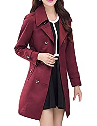 Wantdo Women's Turn Down Collar Double-Breasted Long Trench Coat with Belt