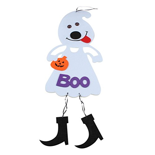 BESTOYARD Halloween Scary Decoration Non-Woven Hanging Pumpkin Dolls Party Supplies (White) -