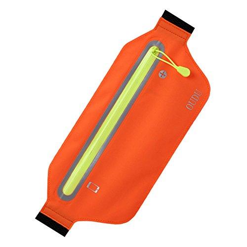 LanLan Bolsos de deporte para guardar Teléfono durante correr, bolsa multifunción impermeable Waistbag,ç Bolsa ligera Naranja Brillante