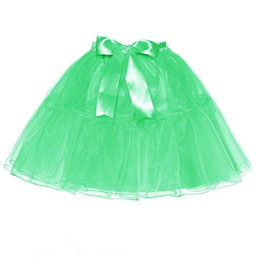 LSCY Femmes Au-Dessus Au Genou Jupe Bowknot Couches Tutu Petticoat Taille Haute Tulle Plusieurs Tailles Apple Green