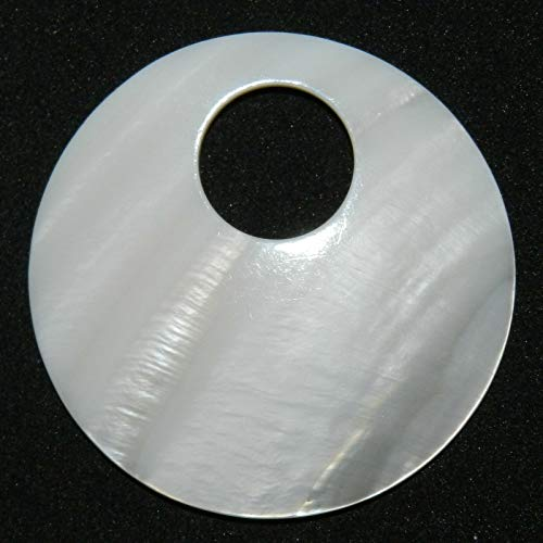 White Mother of Pearl Shell 50mm Round Go-Go Donut Pendant Bead #ID-2450