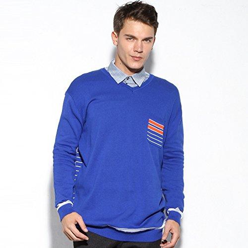 Jdfosvm männer aus Pullover, männer ist groß - Pullover, männer - Herbst - Winter Freizeit v - Pulli,blau,XXXL