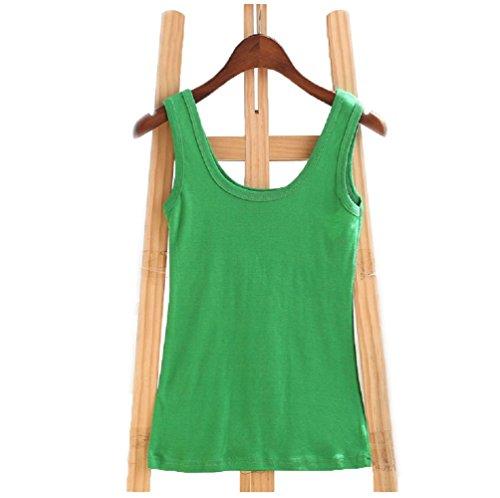 Wenseny Mujer BXA Cuello Redondo Camiseta Sin Mangas Tank Top Verde