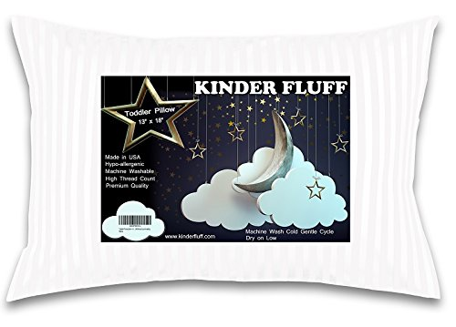 kinder Fluff Toddler/Travel Pillow -No extra Pillowcase/Sham needed-The only Pillow with 300T Cotton and Cluster fiber fill- Hypoallergenic and Machine washable by kinder Fluff (Image #9)