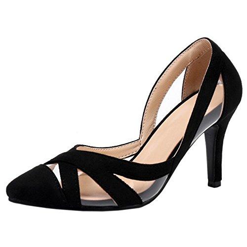 COOLCEPT Mujer Moda Slip On Sandalias Cerrado Hueco Tacon de Aguja Zapatos Negro