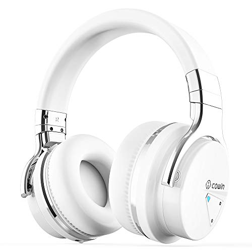COWIN E7 Active Noise Cancelling Bluetooth Headphones with Microphone Wireless Headphones Over Ear, 30H Playtime for Travel Work TV Computer Cellphone – White