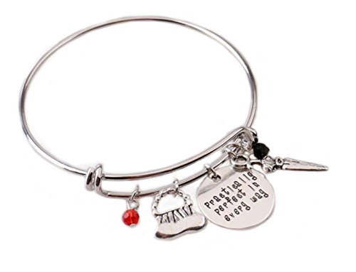 Mary Poppins Message Expandable Silver Bangle Bracelet Practically Perfect in Every Way Hand Stamped Letter Bracelet with Handbag,Umbrella,Crystals Charms