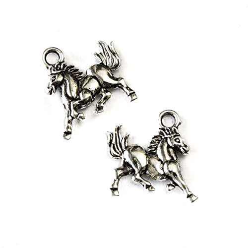 Cherry Blossom Beads 15mm Silver Pewter Wild Mustang Horse Charm - 10 Per Bag