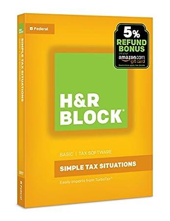 H&R Block Tax Software Basic 2017 with 5% Refund Bonus Offer