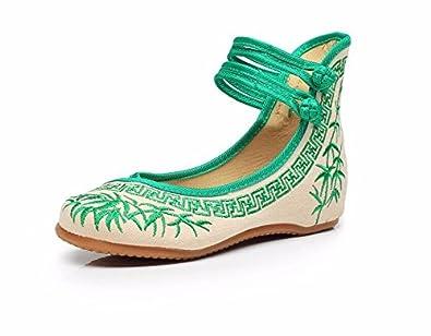 KAFEI Bestickte Schuhe, Bambus Stempel Niedrig mit Rundem Kopf, Grün 35