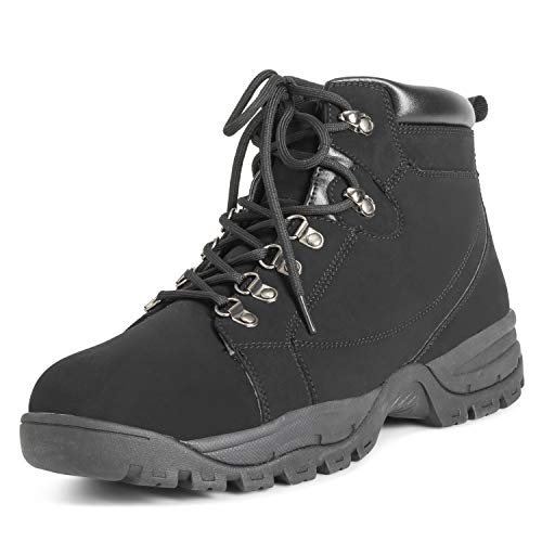 (Mens Hiker Safety Durable Rubber Sole Work Leather Steel Toe Cap Boots - Black - EU40/US7 - DR0042 )