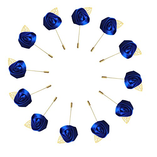 WeddingBobDIY 12Pieces/lot Groom Boutonniere Wedding Silk Rose(3.5cm) Flowers Accessories Prom Pin Man Suit Decoration Royal Blue (Wedding Suit Silk)