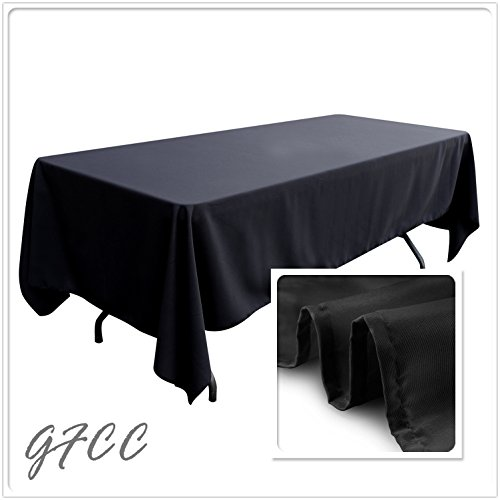 GFCC 60 x 102 inch Rectangular Woven Polyester Seamless Tablecloth Black, Wrinkle,Stain Resistant