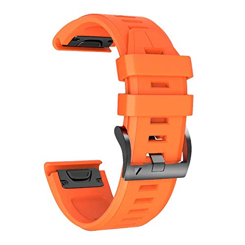 ANCOOL Compatible Fenix 5X Plus Band 26mm Easy Fit Silicone Smartwatch Bands Replacement for Fenix 5X/Fenix 5X Plus/Fenix 3/Fenix 3 HR (Orange)