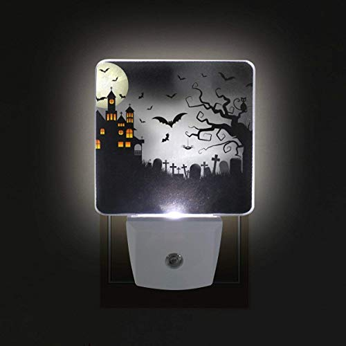 xiaodengyeluwd 2 Pack Spooky Halloween Background Plug in LED Night Light Auto Sensor Dusk to Dawn Decorative Night for Bedroom, Bathroom, Kitchen, Hallway, Stairs,Hallway,Baby's Room, Energy -