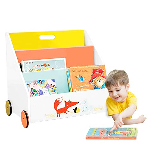 labebe  Kid Bookshelf with Wheels, Orange Fox Wood Bookshelf