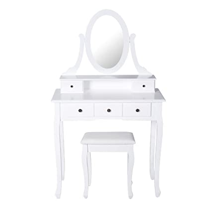 Peach Tree Elegant Bedroom Vanity Makeup Dressing Table Set Mirror with  Round Mirror, 5 Drawers and Cushioned Stool, White