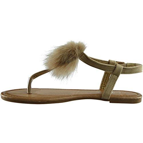 Størrelse Sandaler Pels Pom 8 Nye Leiligheter Ladies T bar Kvinners Peeptoe Sko Beige legg Toe 3 xan7HRT