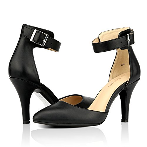 Yeviavy Women's Pumps Shoes High Heel Pointed Toe D'Orsay Ankle Strap Buckle Closure Dress Shoe Black PU 7 - Pointy High Heel Pump