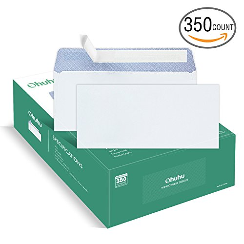 Ohuhu 350 #10 Envelopes SELF SEAL Business Envelope Windowless Design, Security Tint Pattern for Secure Mailing, Invoices, Statements & Legal Document, 4-1/8 x 9-1/2 Inches Mailing Envelopes
